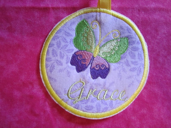 butterfly diaper bag tag/ luggage tag/ embroidered butterfly/ free personalization/ applique