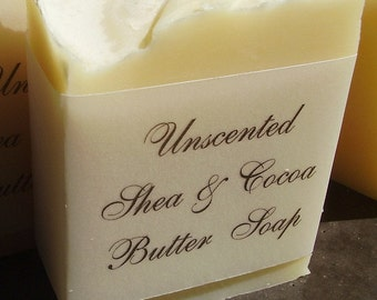 Unscented  Shea and Cocoa Butter Soap-  Handmade in BC, Canada