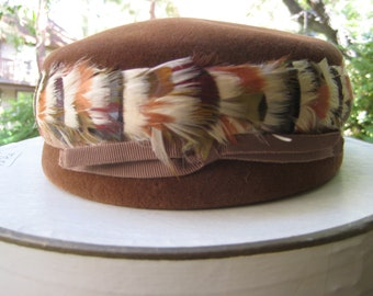 Vintage Fall Inspired Brown Wool Felted Pill Box Hat with Feathers