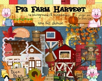 Digital Scrapbook Pig Farm Harvest