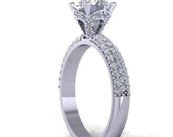 platinum Diamond and moissanite Engagement Ring ,wedding ring,  -Style 43PLDM