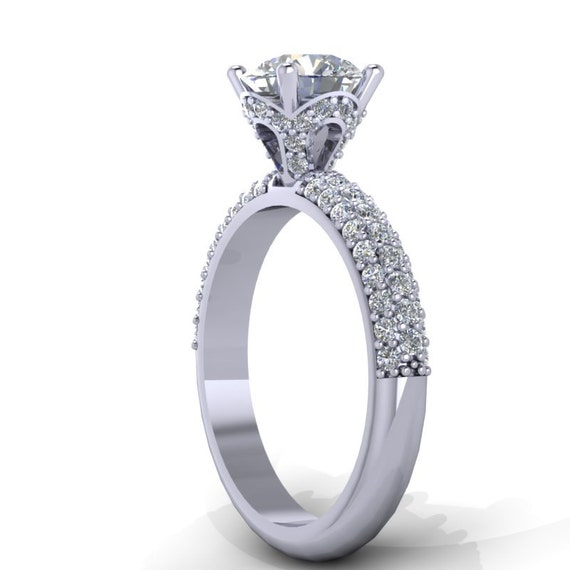 platinum and moissanite engagement ring wedding ring