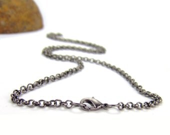 Gunmetal Chain custom length Gunmetal Rolo Necklace