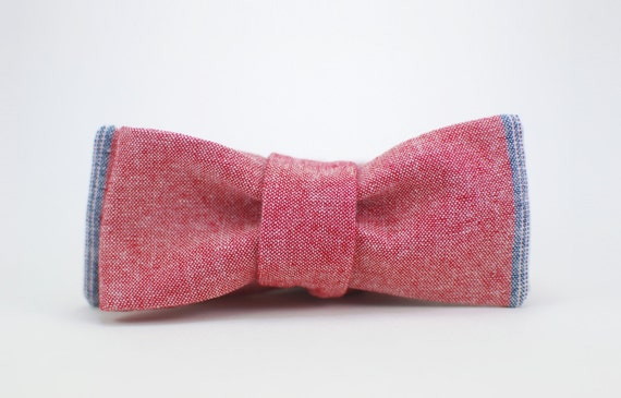 Selvage Tipped Chambray Bow Tie - Brick Red