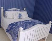 Miniature Dollhouse Shabby Chic / Nautical Blue and White 7pc Bedding Set