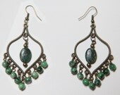 Handmade Chandelier Earrings with rough Emerald oval nugget and Ruby Zoisite beads set with Antiqued Brass