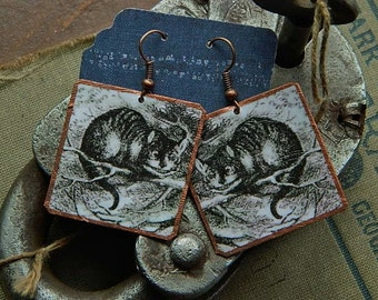 Cheshire Cat earrings Cheshire Cat Jewelry mixed media jewelry