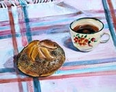 Coffee and Roll Still Life, Original Painting, Gouache on Paper, 9 x 12 inches