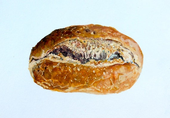Original Realism, Painting of Bread, Gouache on Paper, 5 x 7 in. By Heather McCaw
