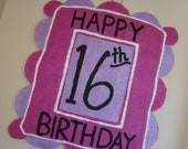 Happy Birthday  handpainted burlap door decor with interchangable age panel