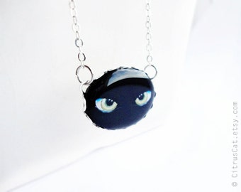 Cat's eyes necklace, black cat, cat jewelry, cat necklace, eyes jewelry, halloween jewelry