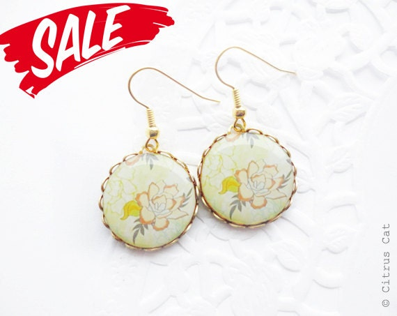 SALE - Golden rose earrings