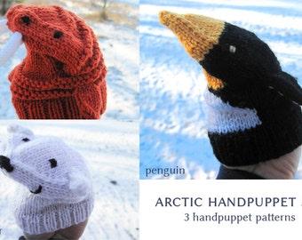 toy knitting pattern, arctic handpuppet knitting pattern set, handmade gift for children, ice bear, penguin, walrus