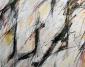 7-19-12 one (abstract painting, black, white, cream, red, gold. yellow)