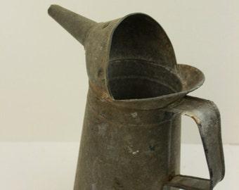 Vintage Galvanized Steel 1 Quart Gasoline or Oil Can