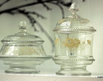 Vintage Glass Round Butter Dish and Matching Covered Glass Dish