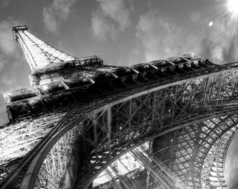 PARIS EIFFEL TOWER Black and White Photographic Photo Paris France Print