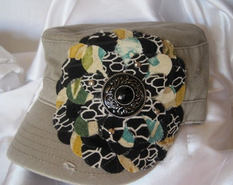 Sale....Khaki Cadet Military Distressed Army Hat with Coordinating Fabric Flower and a Gorgeous Black Stone Pendant Embellishment