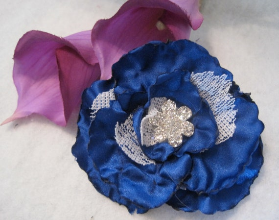 Cobalt Blue Satin with Lace FLOWER PIN/Brooch  Hair Clip with  Rhinestone Flower Accent