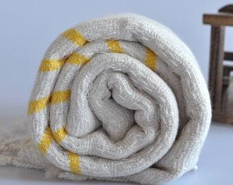 Handwoven Peshtemal Towel Cotton bamboo mix Turkish towel with yellow stripe