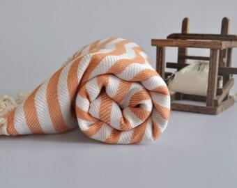 Beach Towel - Cotton Peshtemal Towel in Orange color