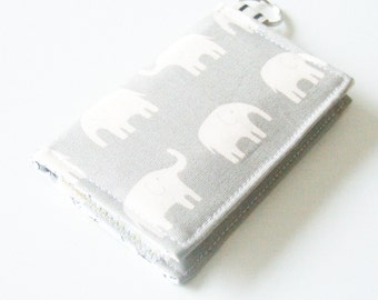 Wallet - Business Card Holder - Velcro Wallet - Key-chain Wallet - Elephant Fabric
