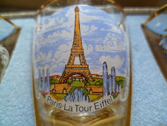 Shot Glasses, Paris Landmarks, Eiffel Tower Etc. French Vintage 1950's.