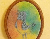 """The wonder years - Hank the pigeon 3"""" tiedye hand embroidered piece"""