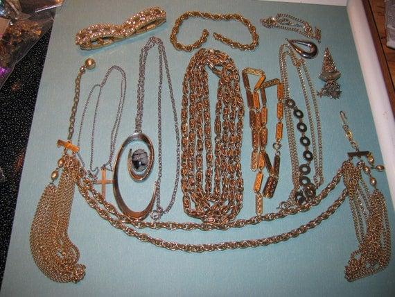 Destash Craft Lot of Vintage Jewelry, A Little Of Everything Kramer Necklace