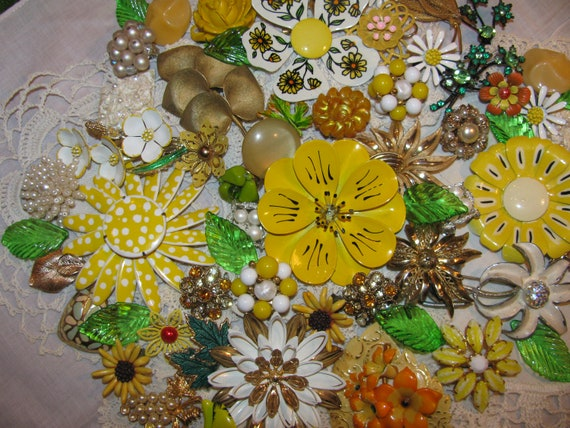 Yellows-Whites-Rhinestones Beautiful Jewelry For Making A Bridal Bouquet Enamel Flowers and More