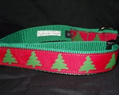 Green and Red tree style adjustable collar or martingale