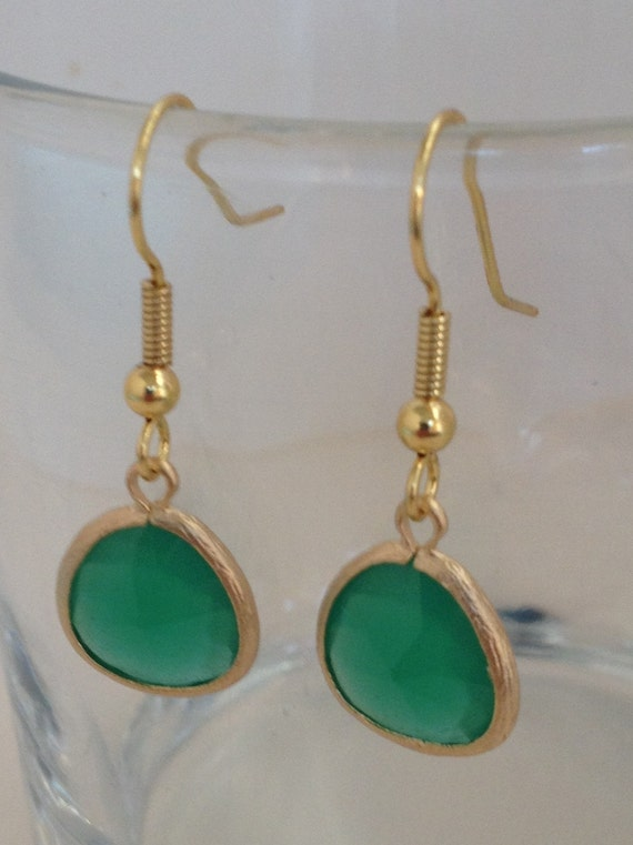 Faceted Turquoise and Gold Pendant Earring, Gold Framed Drop Earring
