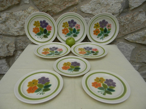 Vintage Franciscan Floral Pattern Dinnerplate 5 Salad Plate 3 Multicolored