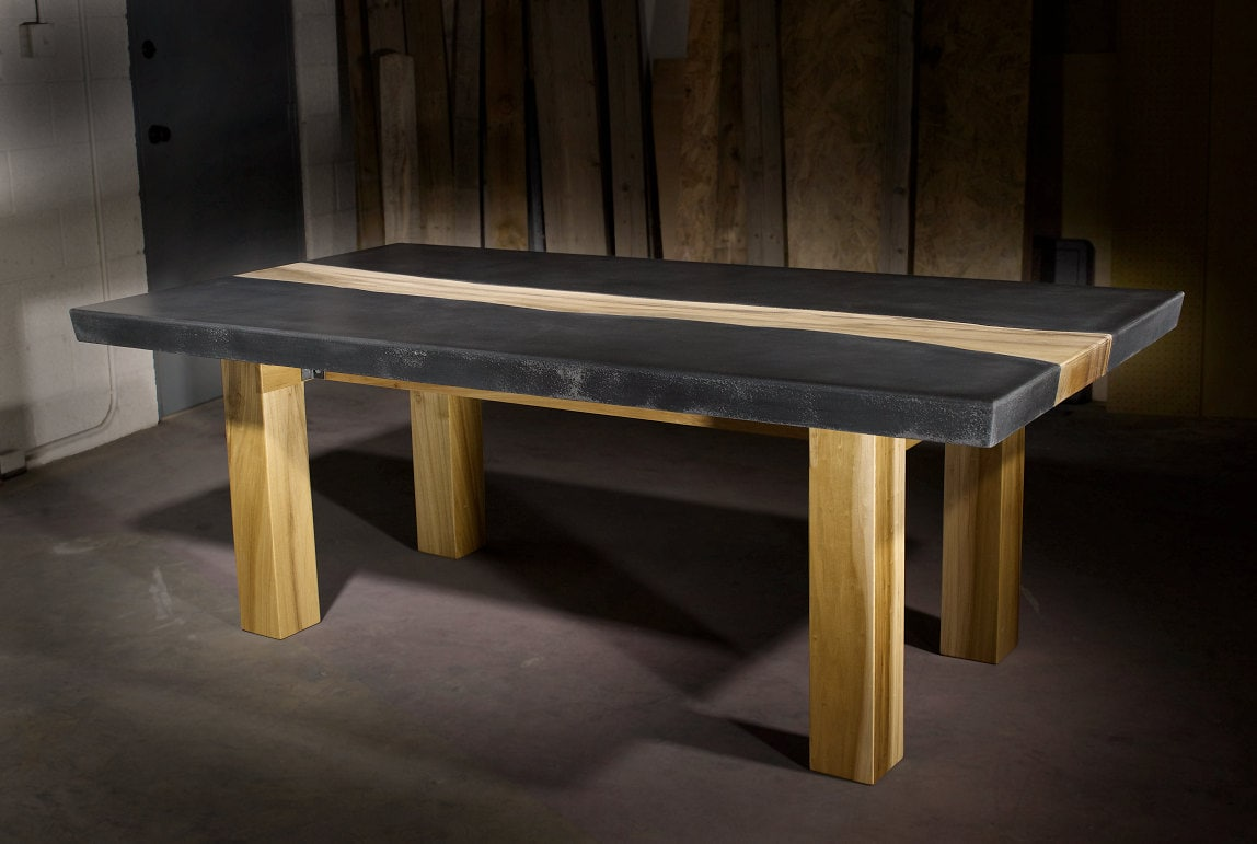 Concrete table with wood inlay Concrete and wood furniture