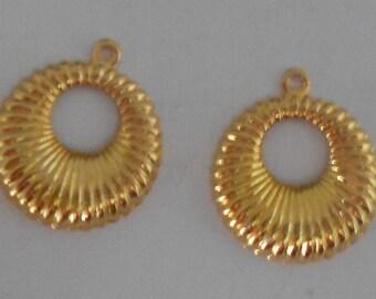 Beautiful Brass Swirled Donut Dangle Soooo Golden Make Elegant Earrings