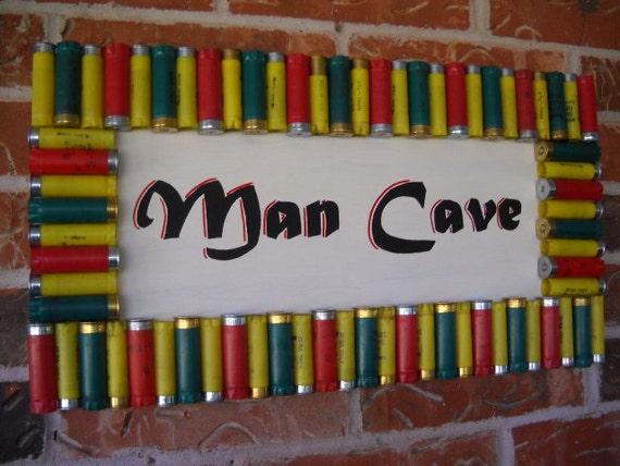 Cave Sign Shotgun Shells Hunting Room Decor Upcycled