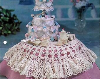Wedding Cake & Tablecloth Plastic Canvas, Crochet Pattern Annies Attic FCC03-03