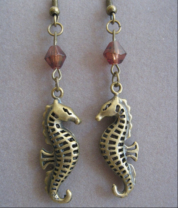 Earrings Seahorse Charm and Glass Bead In Antiqued Bronze