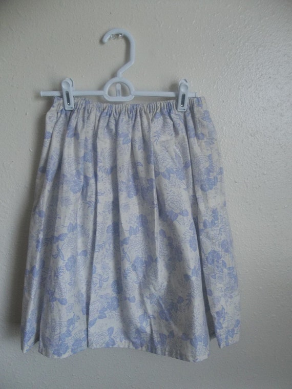 SALE Lolita Skirt - Ivory And Lilac Floral Print - Cotton Knee Skirt Fits Sm Md Lg 40% OFF