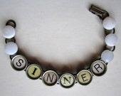 """Vintage Typewriter Key """"SINNER"""" Bracelet Retro Upcycle"""