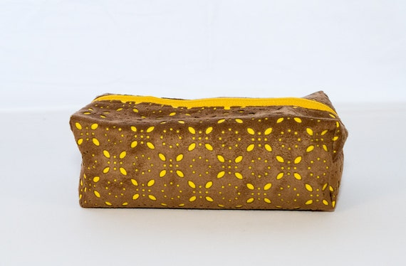Brown and Yellow Suede Jewelry Bag, Makeup Bag, or Travel Toiletry Case
