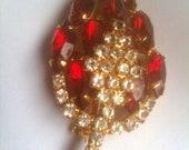 Ruby Red Rhinestone Brooch and Earrings 1950s Vintage Jewelry