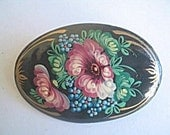Russian Lacquer Brooch Early 20th Century Vintage Jewelry, Gift for Her VALENTINE SALE