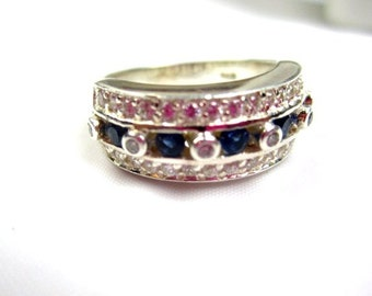 Sterling Silver Ring, Blue Rhinestone, 1950s, Vintage Jewelry, WINTER SALE