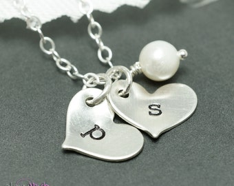 Two hearts necklace, custom stamped, initial charms, couples, best friends, sisters, girlfriend boyfriend, new mother
