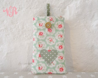 Padded Phone Case for ANY Smartphone iPhone SE 4 4s 5 5s 5c 6 6s 7 Plus Made in Cath Kidston Green Provence Rose Fabric with Polka Dot Heart