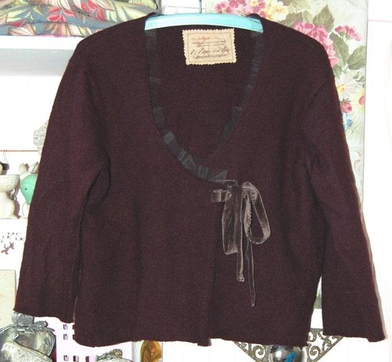 Plum Sweater Lambswool 1X Altered Clothing Shabby Wine Velvet Plus Sz  Raw Edges Boho Gypsy Casual Feminine Embellished Upcycled Eco