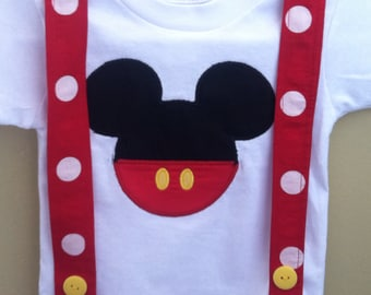 Gorgeous Mickey Mouse shirt/onesie suspenders