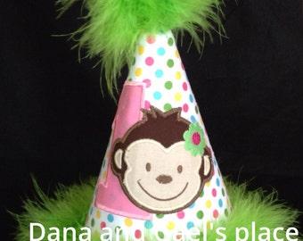 Cute girl monkey birthday hat FREE PERSONALIZE