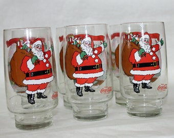 Christmas in July, Vintage 1984, Christmas, Coca Cola Glasses, Set of 6
